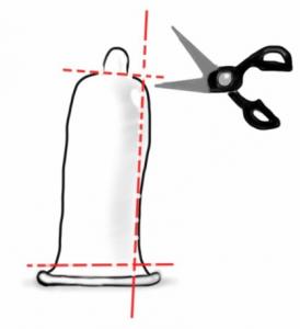 Illustration Kondom aufschneiden