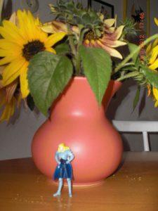 Ü-Ei Prinz vor Blumen