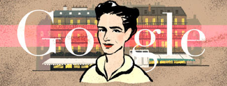 Screenshot Google-Doodle Simone de Beauvoir vom 9.1.2014