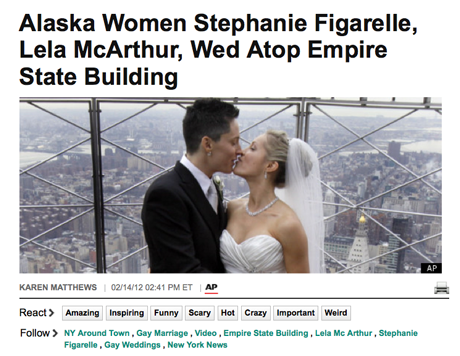 Huffingtonpost Screenshot: 2 Frauen heiraten auf dem Empire State
