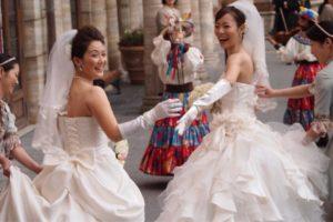 Koyuki Higashi and Partner Hiroko at Disney Tokyo Wedding