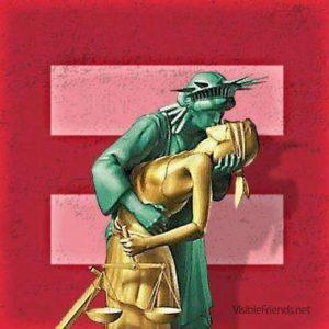 HRC-Logo in rot: Lady Liberty küsst Justizia
