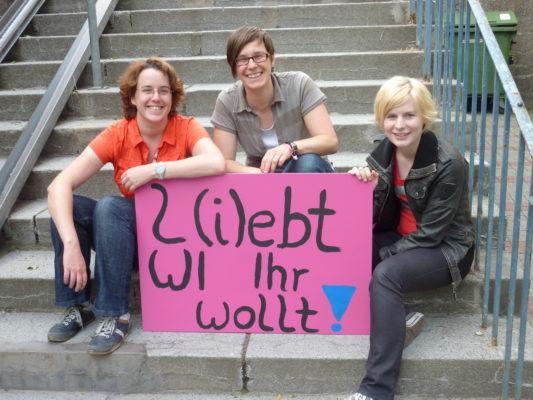 CSD-Macherinnen: Susanne, Eileen und Meike vom CSD Wiesbaden