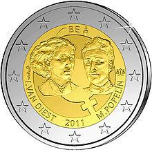Marie Popelin, 2 Euro Münze Belgien 2011