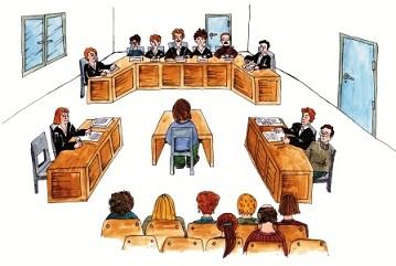 Zeichnung Gerichtssaal, Bild: AGHATA
