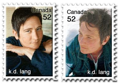 Briefmarke als Geburtstagsgeschenk für k.d. lang