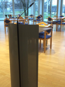 Redepult im Restaurant des Landtags NRW